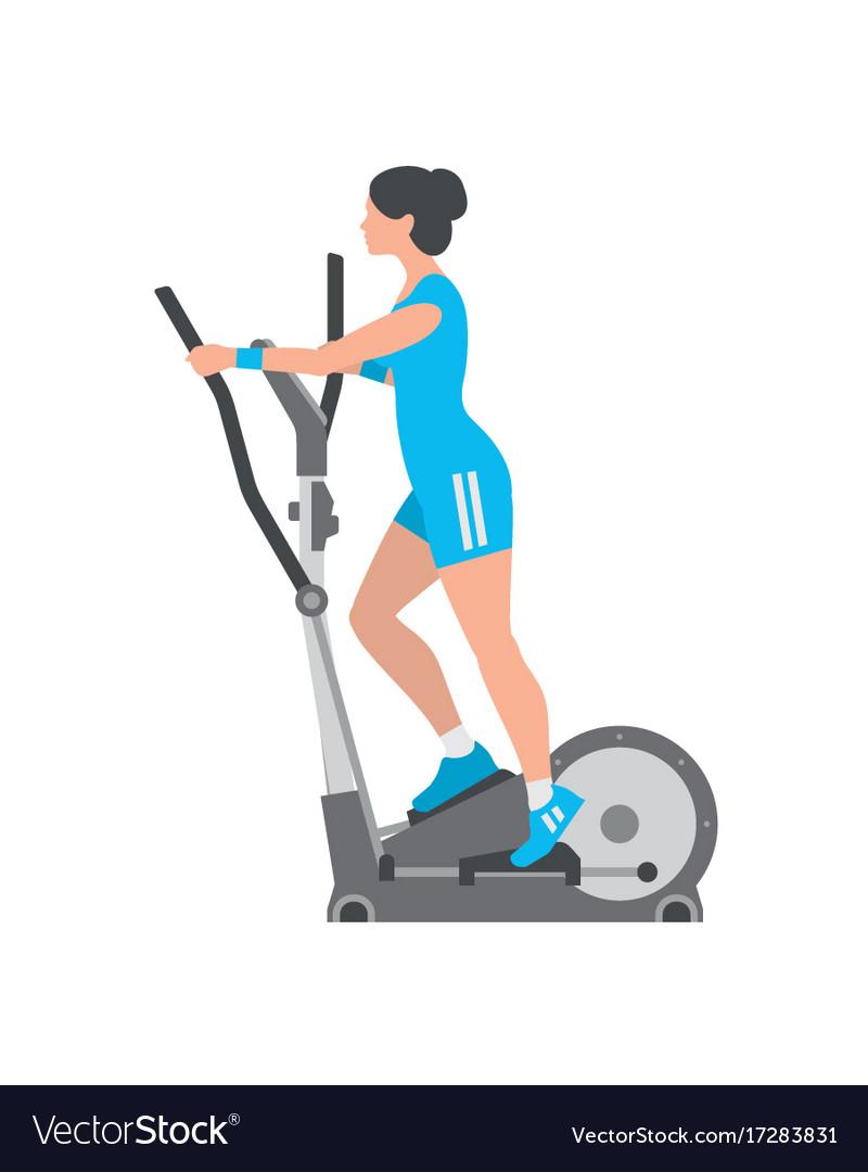 woman running on elliptical