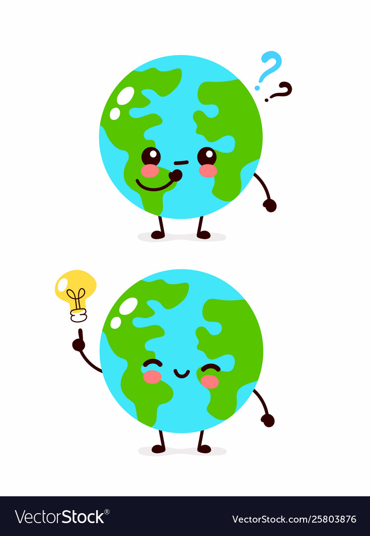 Cute Earth Cartoon : earth, cartoon, Happy, Earth, Planet, Question, Vector, Image