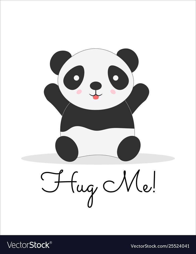 Hug Me Lettering Cartoon Color Postcard Royalty Free Vector