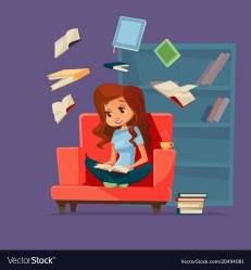 Cartoon girl student reading books Royalty Free Vector Image