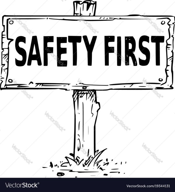 Wooden Sign Board Drawing With Safety Text Vector