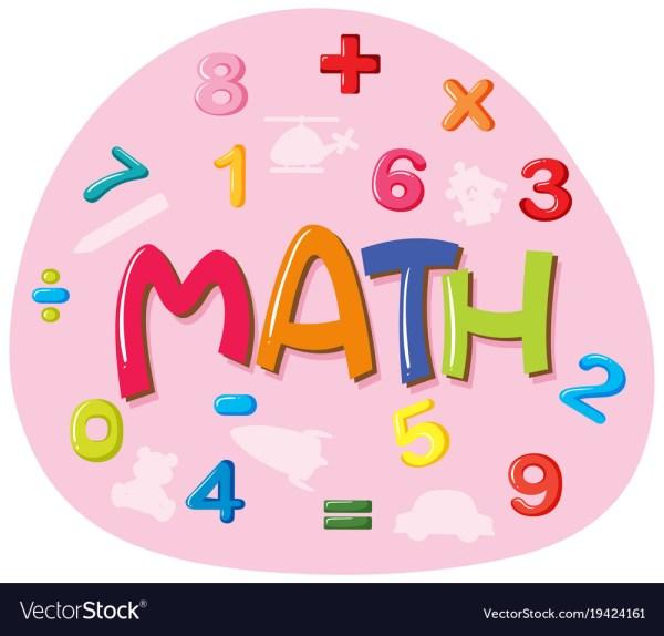 Sticker Design Word Math Royalty Free Vector