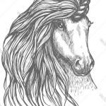 Unicorn Fantastic Horse Sketch For Tattoo Design Vector Image