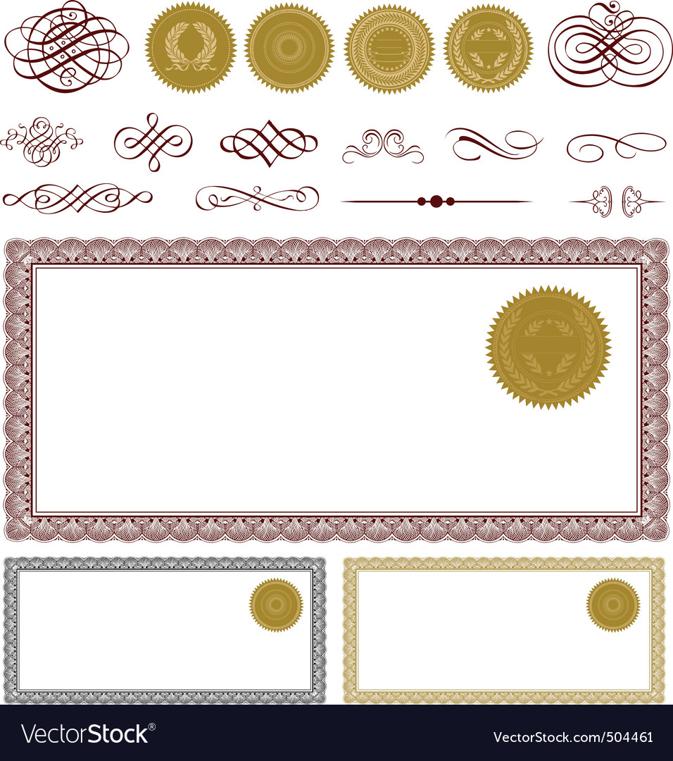 Vector blank certificate frame set Royalty Free Vector Image