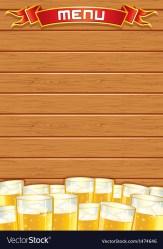 Blank pub menu wooden background Royalty Free Vector Image