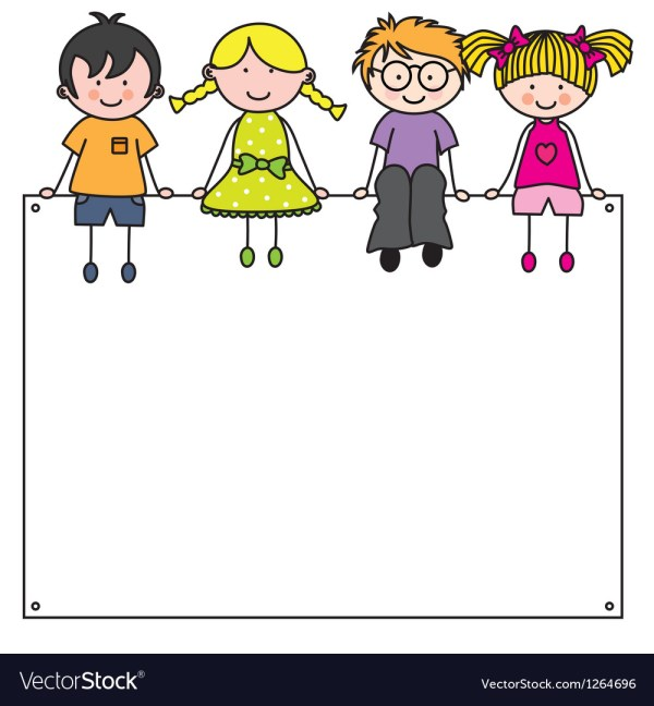 Cute Cartoon Kids Frame Royalty Free Vector