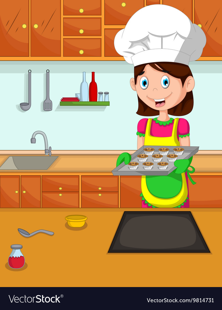 Cooking Cartoon Images : cooking, cartoon, images, Cartoon, Kitchen, Royalty, Vector, Image