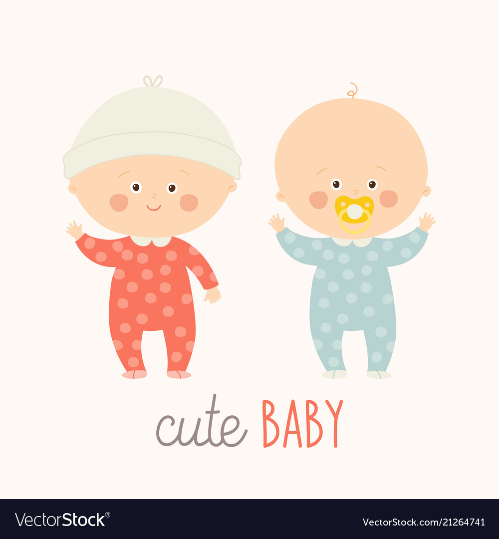 two cute babies standing