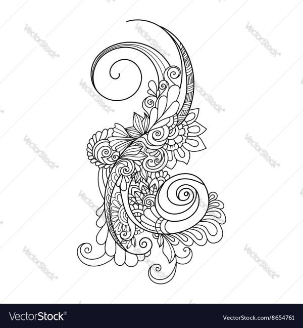 Doodle Art Flowers Zentangle Floral Pattern Hand Vector