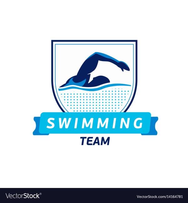 Swimming Team Logo Swimmer Silhouette In Vector