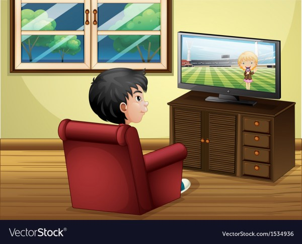 Young Boy Watching Tv Living Room Vector