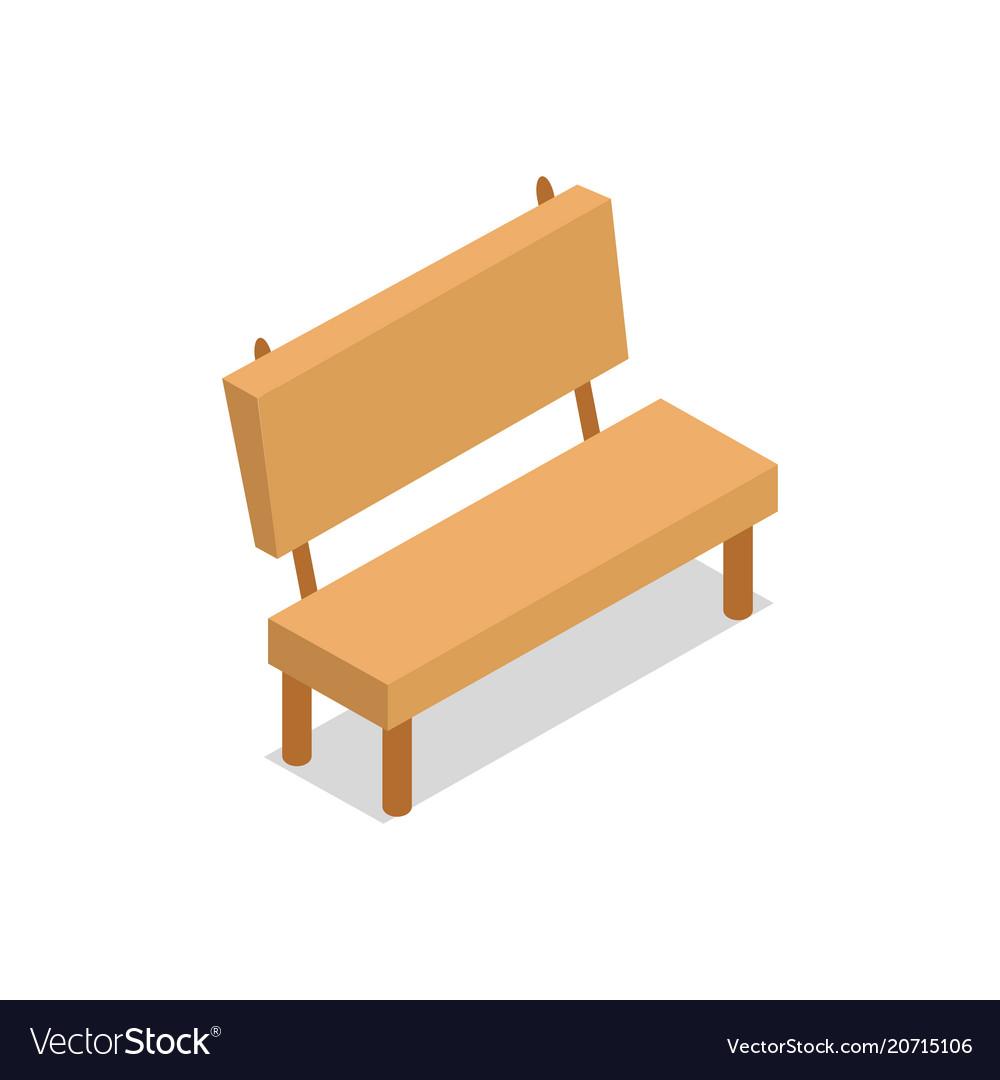 wooden bench isometric design