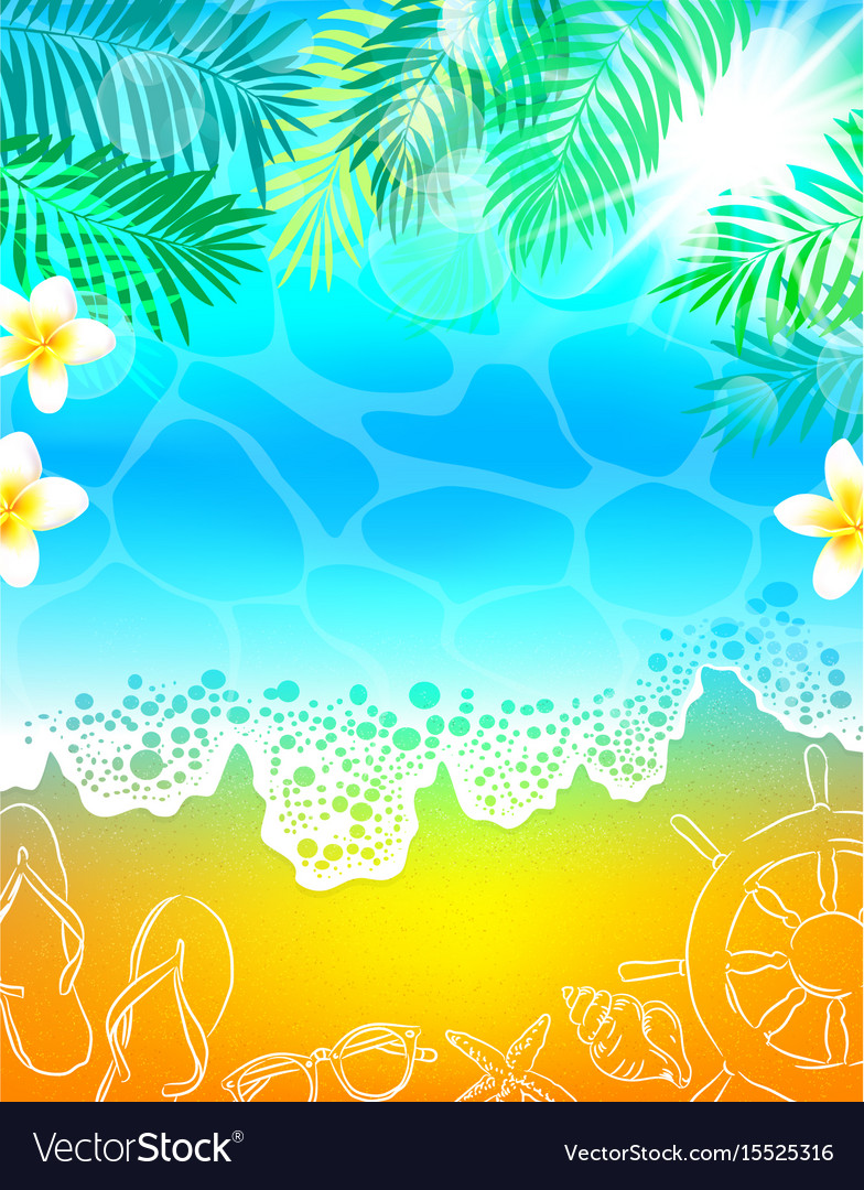 Background Sea Beach Vacation Palm Tree Royalty Free Vector