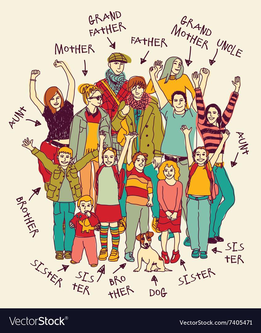 big happy family group
