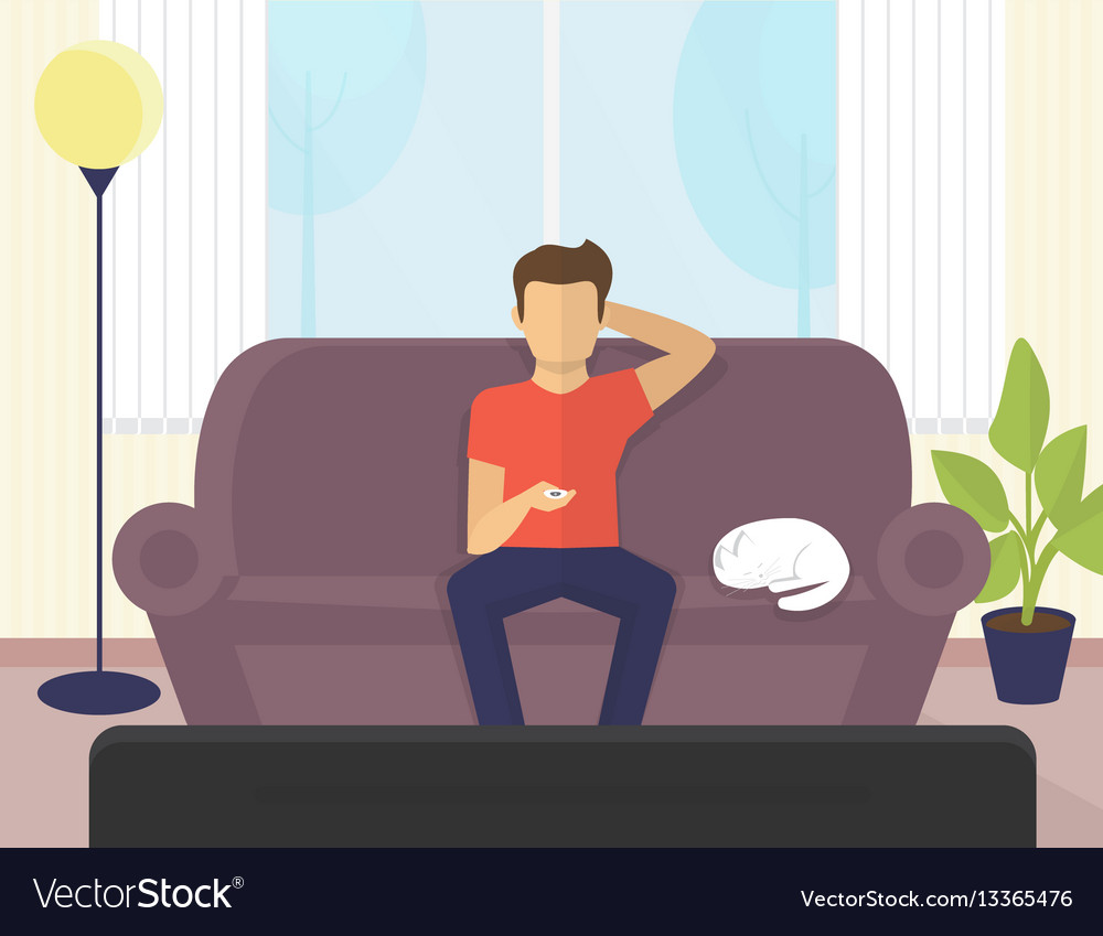 tv sofa fabric protection young man sitting at home on the watching vector image