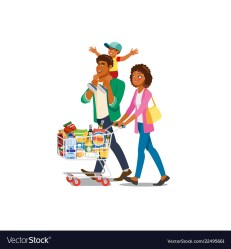 Family shopping in grocery shop cartoon Royalty Free Vector