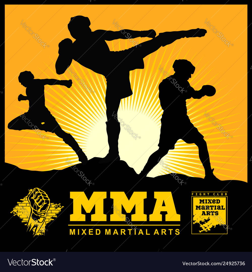 set mma fighters silhouette