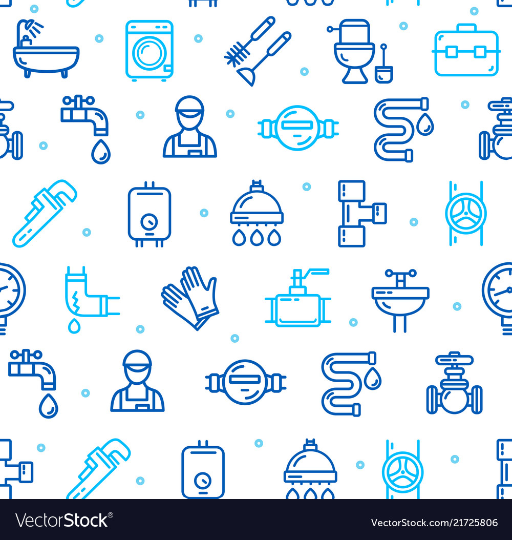 Plumbing Signs Seamless Pattern Background On A Vector Image