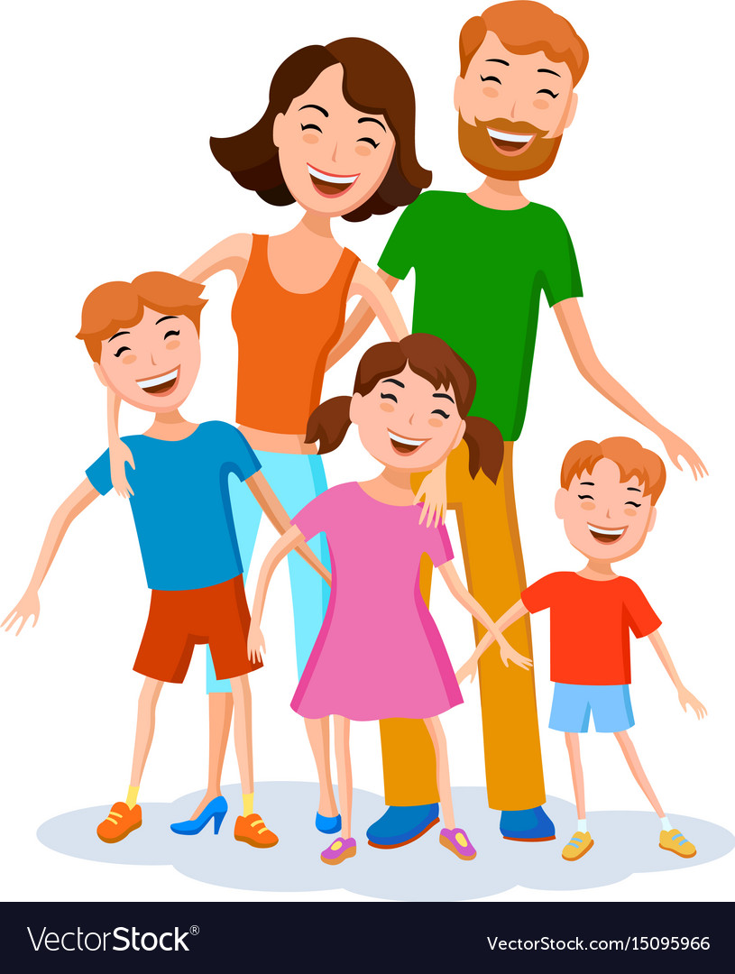 Family Photo Cartoon : family, photo, cartoon, Cartoon, Family, Colorful, Stylish, Clothes, Vector, Image