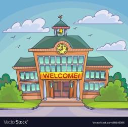 School building bright cartoon Royalty Free Vector Image