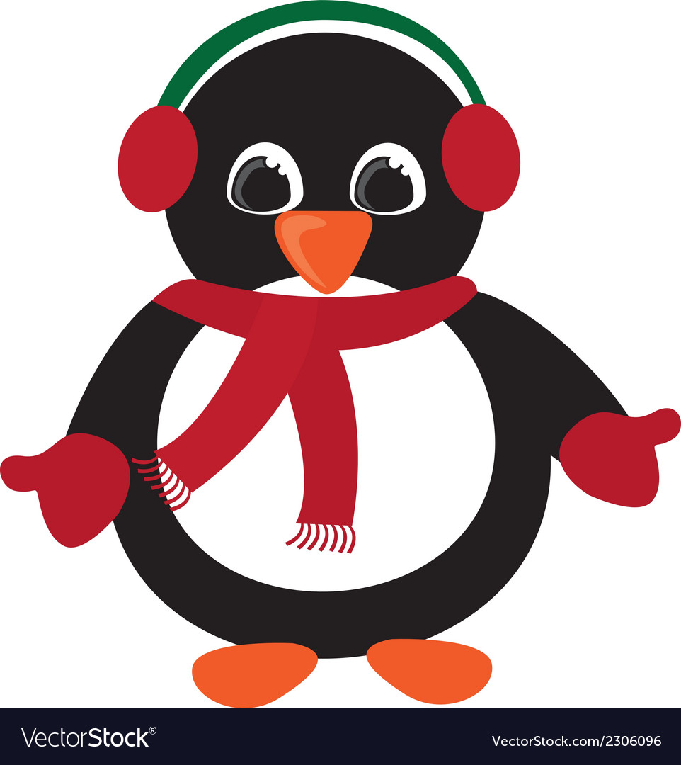 penguin christmas isolated over