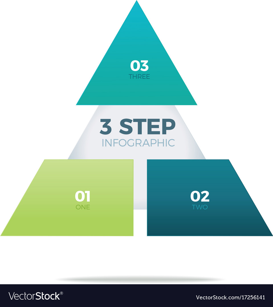 hight resolution of three step pyramid infographic vector image