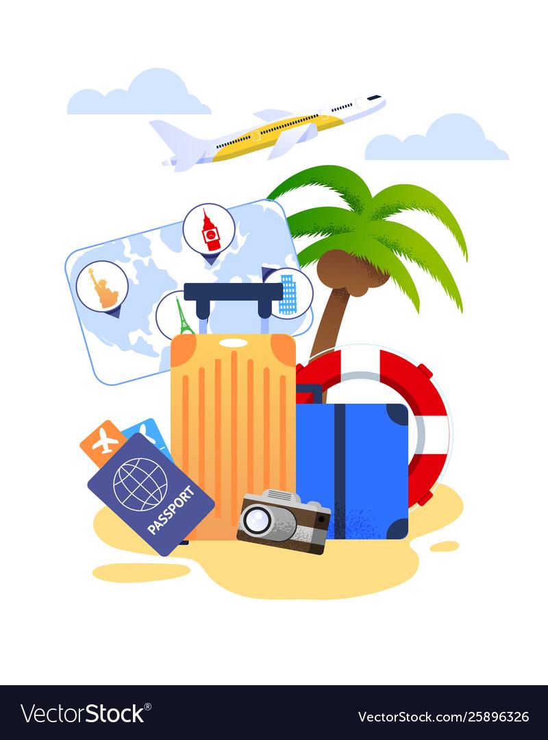 Summer Vacation Cartoon With Travel Essentials Vector Image