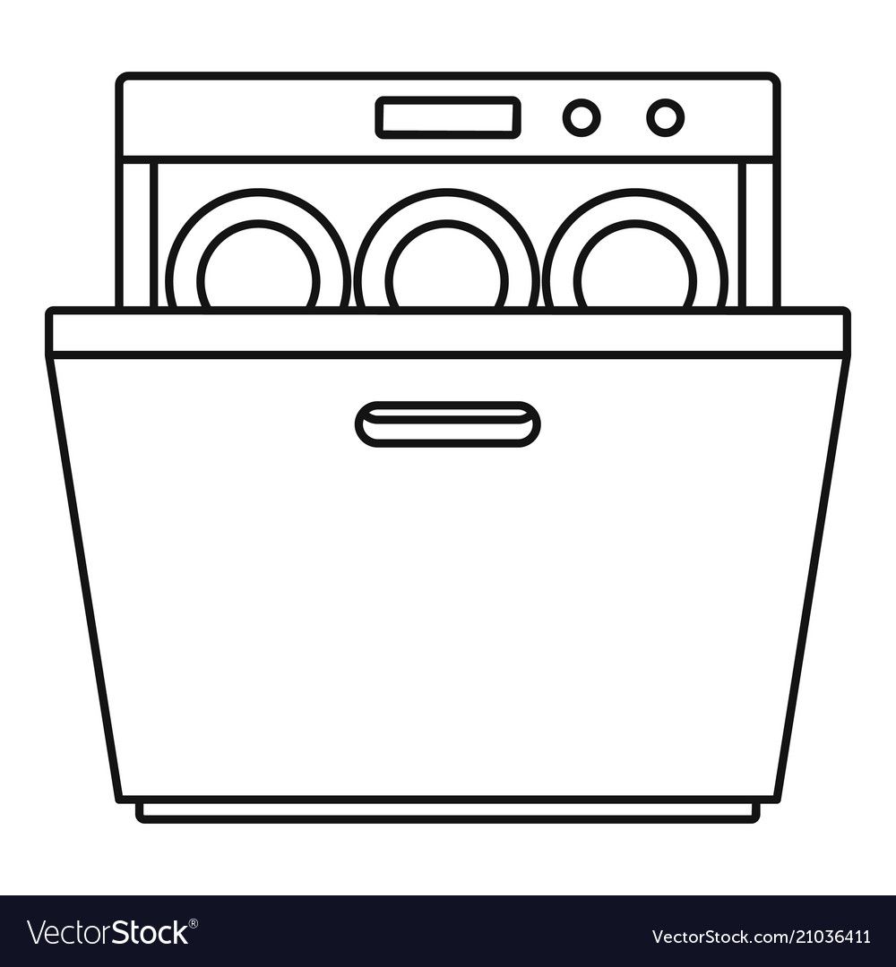 modern dishwasher icon outline
