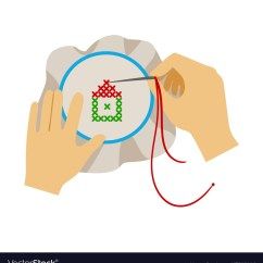 Needlepoint Stitches Stitch Diagrams Two Way Switch Wiring Diagram For One Lights To Hands Doing Cross Stitching Needlework Vector Image