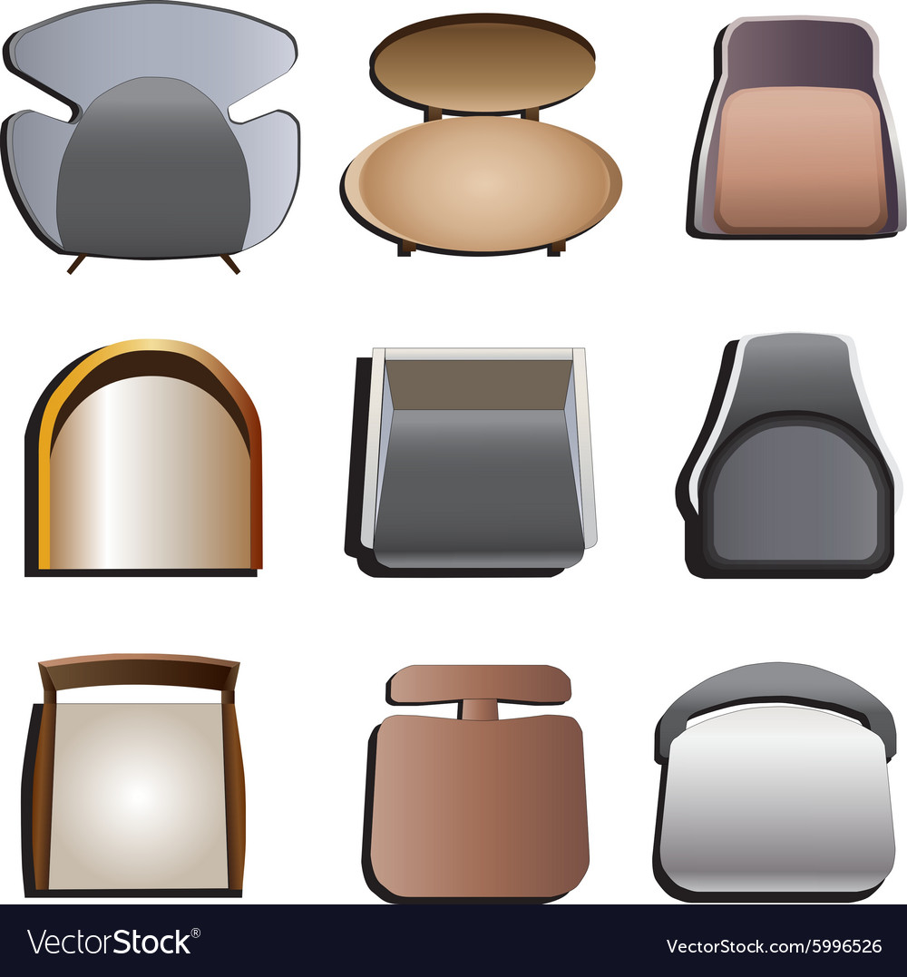 Chair top view set 4 Royalty Free Vector Image