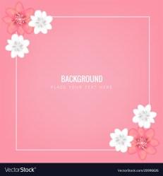 Flower square frame pink background image Vector Image