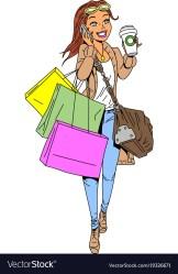 shopping clipart cartoon woman vector clip shopper cliparts transparent royalty bag collection
