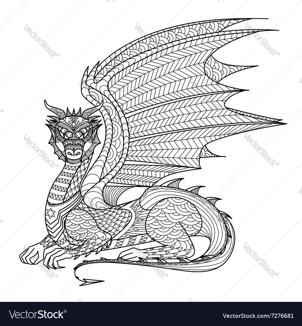 Dragon Coloring Page Royalty Free Vector Image