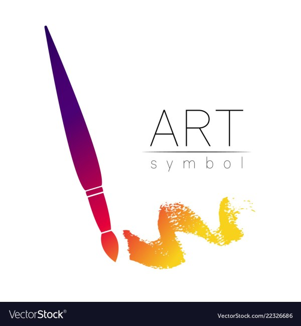 Modern Logo Sign Of Drawing Art Paint Brush Vector
