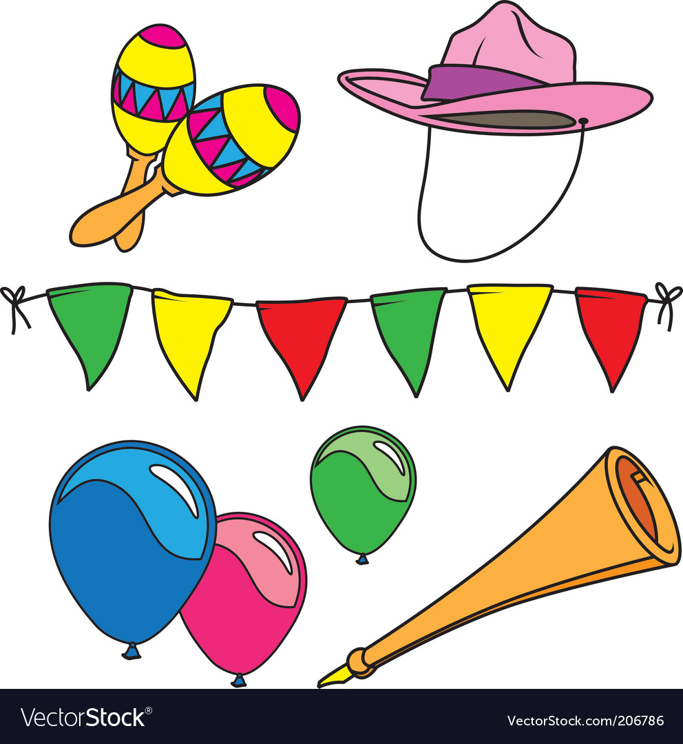 hight resolution of party and carnival set isolated vector image