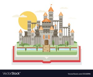 Magic fantasy castle flat style Royalty Free Vector Image