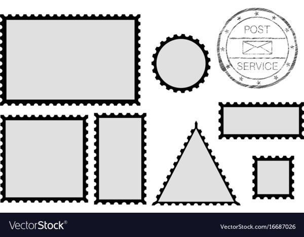 Blank post stamp shape rectangle triangle Vector Image