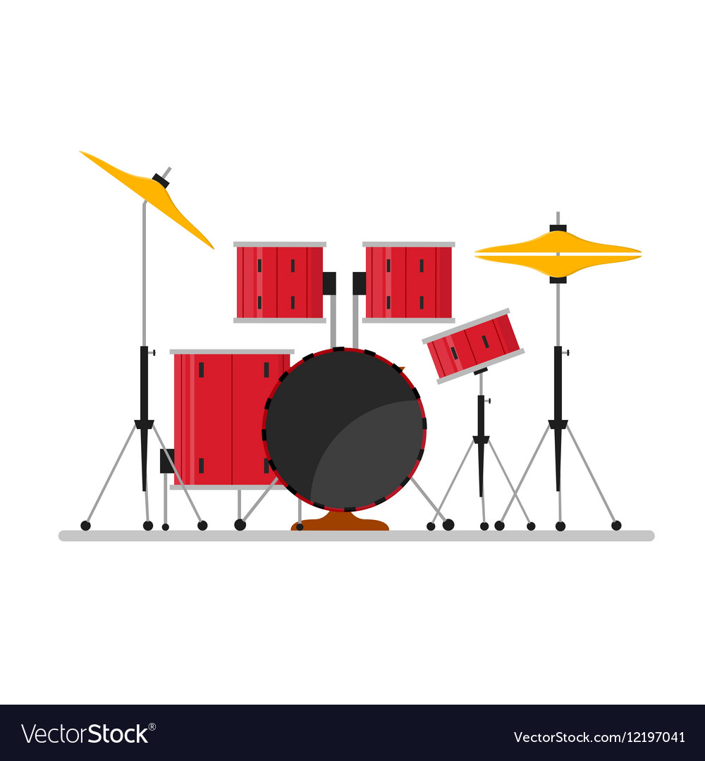 hight resolution of cartoon color drum kit or set vector image