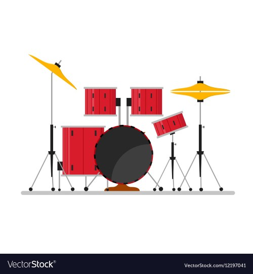 small resolution of cartoon color drum kit or set vector image