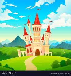 Castle landscape palace fairytale kingdom magical Vector Image