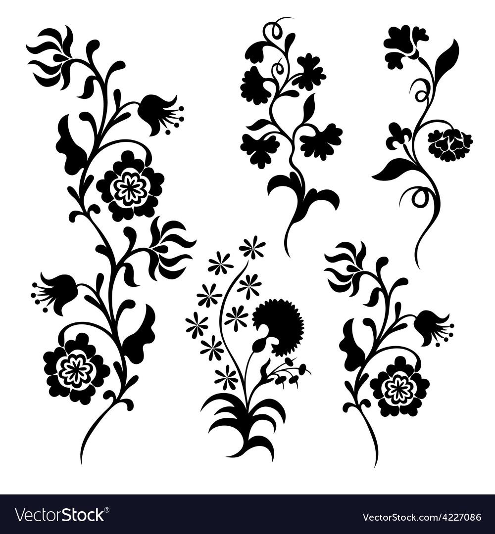 black silhouette flowers royalty