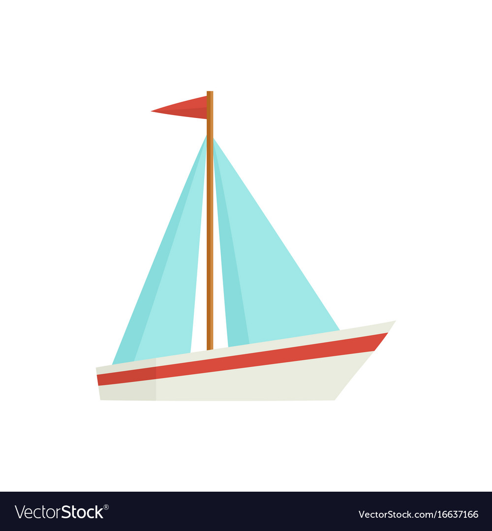 flat cartoon little sailing