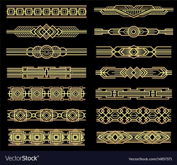 Art Deco Line Borders Set In 1920s Graphic Vector