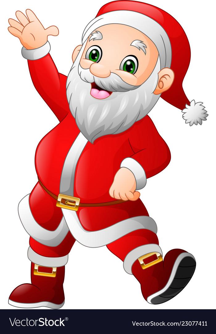 Father Xmas Cartoon Pics : father, cartoon, Cartoon, Happy, Santa, Claus, Waving, Royalty, Vector, Image