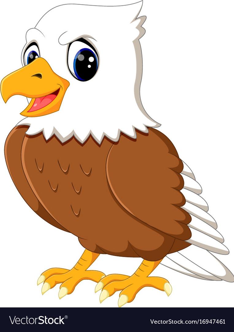 Cute Cartoon Eagle : cartoon, eagle, Eagle, Cartoon, Waving, Royalty, Vector, Image