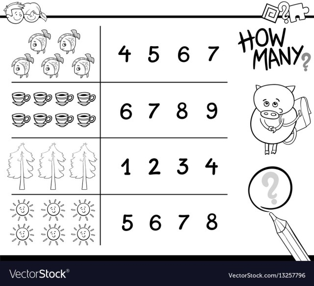Counting activity coloring page Royalty Free Vector Image