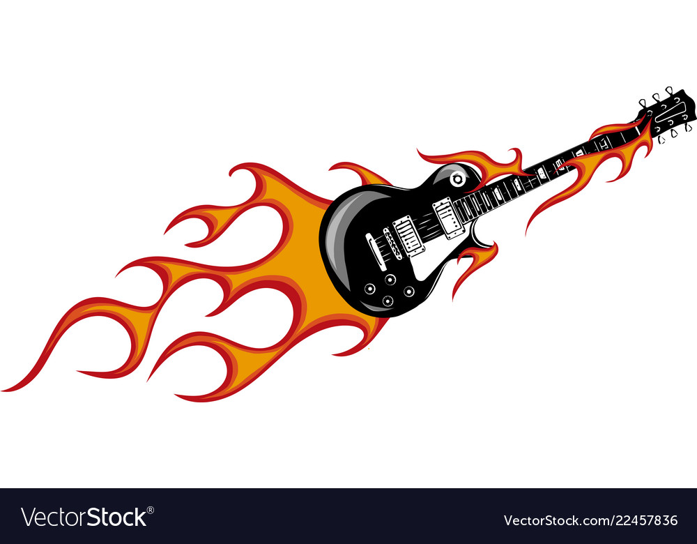 guitar with flames and