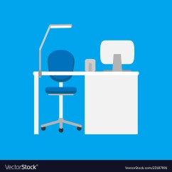 Chair On Wheels Wall Hugger Leather Recliner Chairs Work Place With Table Lamp It Vector Image