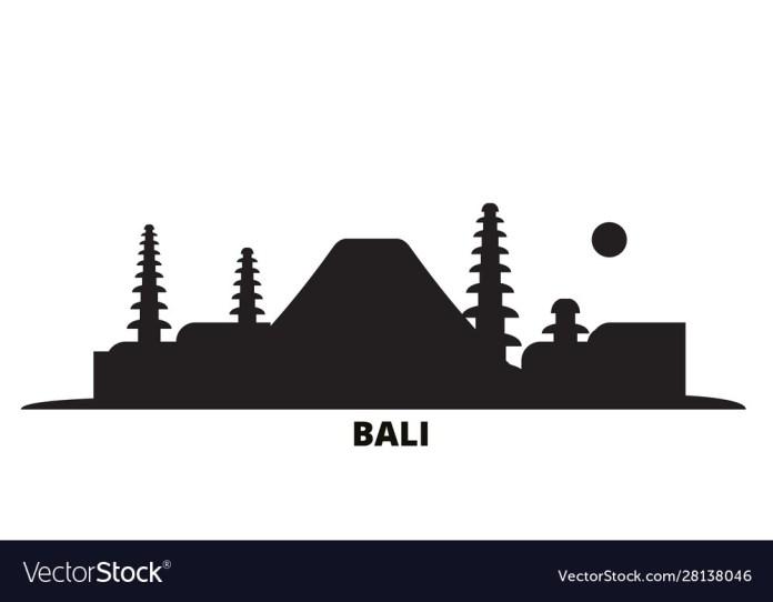 Indonesia Bali City Skyline Isolated Royalty Free Vector