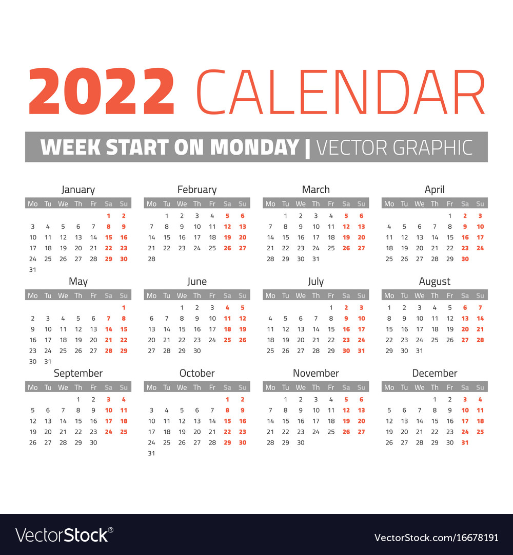 Simple 2022 year calendar Royalty Free Vector Image